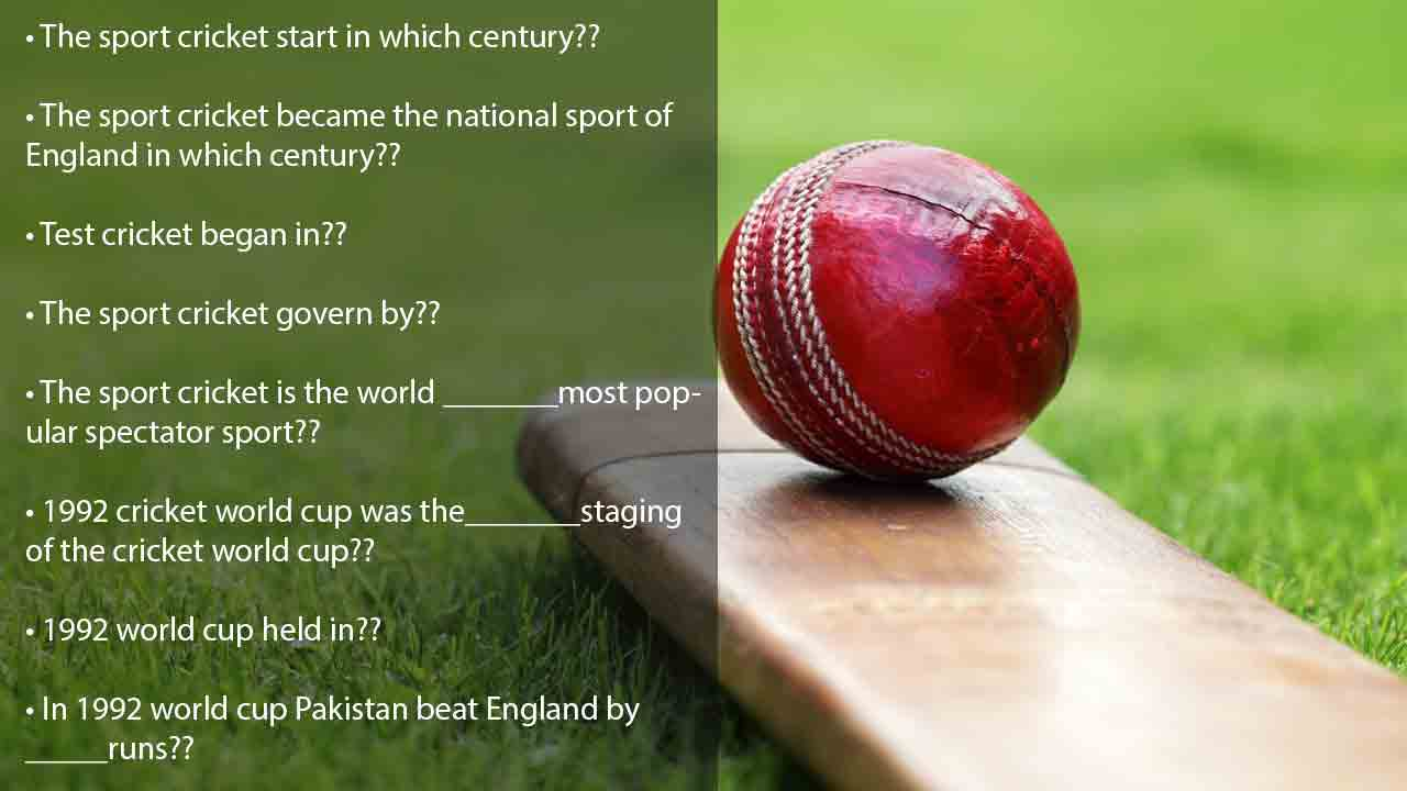 Cricket world cup trivia questions